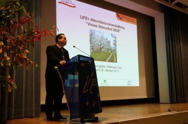 Alexander Bonde,Minister für Ländlichen Raum und Verbraucherschutz, gibt einen Ausblick in die landespolitischen Pläne zu Streuobstwiesen.